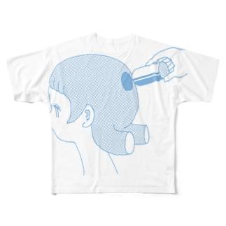 抜けてた(みずいろ) Full graphic T-shirts