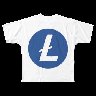 OWLCOIN ショップのLitecoin ライトコイン Full graphic T-shirts