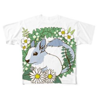 デグーとグリーンリース Full graphic T-shirts