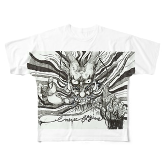 ドラゴン-Never Frogive1 Full graphic T-shirts