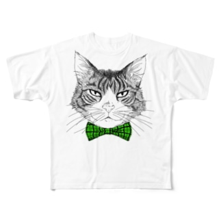 Charlie the  Cat(緑リボン) Full graphic T-shirts
