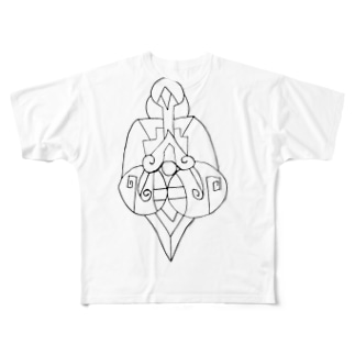 JUNSENSETA(瀬田純仙)古代の絵風20190308 発芽 フルグラフィックTシャツ