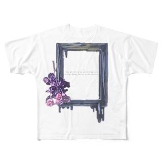 バラと額縁 Full graphic T-shirts
