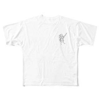 モノクロメルトンくん Full graphic T-shirts