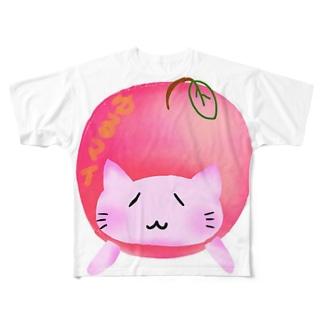 ©️ゆるマイ  りんご猫 Full graphic T-shirts