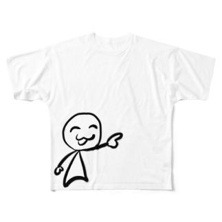 笑顔で指さしをする人 Full graphic T-shirts
