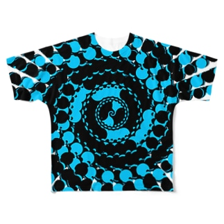Spiral(Black & Blue) Full graphic T-shirts