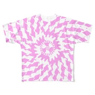 Spiral(Pink & White) フルグラフィックTシャツ