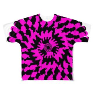 Spiral(Pink & Black) フルグラフィックTシャツ