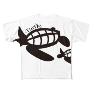 Turtle-Black フルグラフィックTシャツ