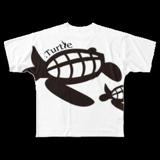 たかせ ゆづきのTurtle-Black Full graphic T-shirts