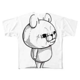 うさぎ100%リアル Full graphic T-shirts