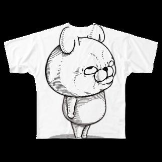 ヨッシースタンプのうさぎ100%リアル上目遣い Full graphic T-shirts
