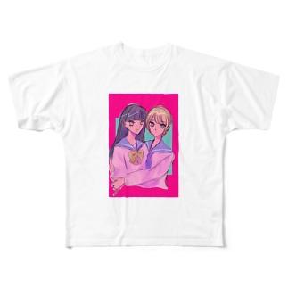 女の子かわいい Full graphic T-shirts