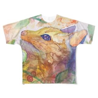 動物横顔シリーズ ヤマネコ Full graphic T-shirts