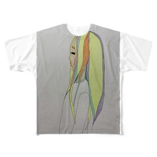 泣き虫女の子 Full graphic T-shirts
