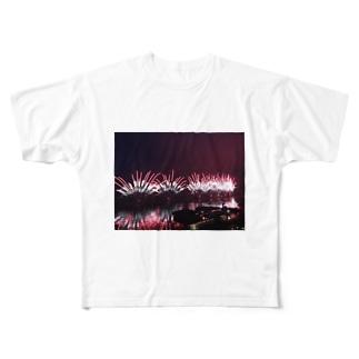 諏訪湖花火大会 Full graphic T-shirts