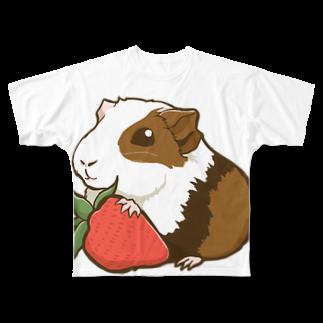 Lichtmuhleのイチゴ×モルモット Full graphic T-shirts