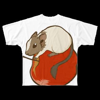Lichtmuhleのリンゴ×デグー Full graphic T-shirts