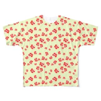 むきエビ可愛い Full graphic T-shirts