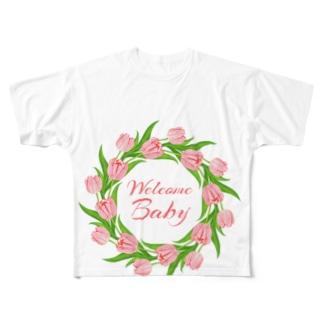 マタニティプリントTシャツ『チューリップ』 Full graphic T-shirts