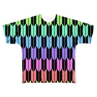 Yagasuri(Pastel Rainbow - Black) フルグラフィックTシャツ