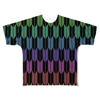Yagasuri(Vintage Rainbow - Black) フルグラフィックTシャツ