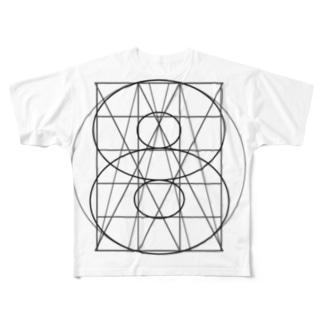 グリッド線イラストグッズ Full graphic T-shirts
