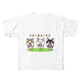 柴犬トリオ Full graphic T-shirts