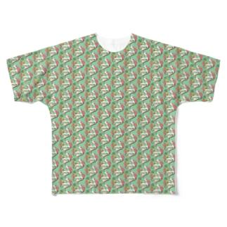 トロピカル モルモット【緑】 Full graphic T-shirts
