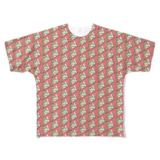 トロピカル モルモット【赤】 Full graphic T-shirts