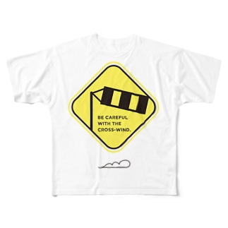 標識!「横風注意」 Full graphic T-shirts