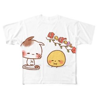 ほのぼのねこさんとぴよみさん Full graphic T-shirts