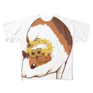 ミモザの花かんむりとモルモット Full graphic T-shirts
