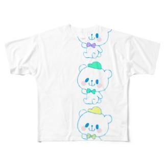 カラフルおやまくま3びき Full graphic T-shirts