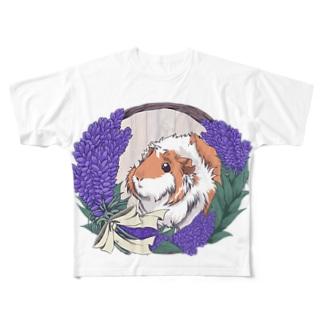 ラベンダーリースとモルモット Full graphic T-shirts