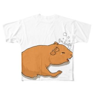 眠いモルモットフルグラフィック Full graphic T-shirts