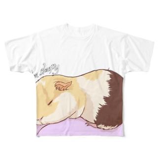 眠いモルモット02フルグラフィック Full graphic T-shirts