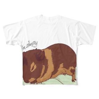 眠いモルモット03フルグラフィック Full graphic T-shirts