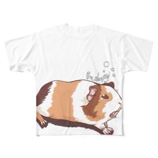 眠いモルモット04フルグラフィック Full graphic T-shirts