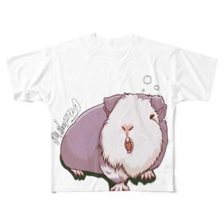 眠いモルモット05フルグラフィック Full graphic T-shirts