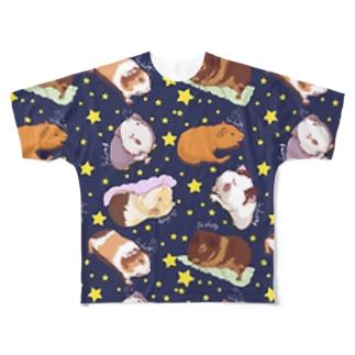 眠いモルモット大集合01 Full graphic T-shirts