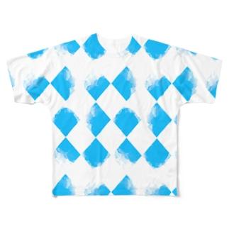 青ちょきちょき Full graphic T-shirts