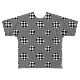 Polka Dots(Black Gingham) フルグラフィックTシャツ