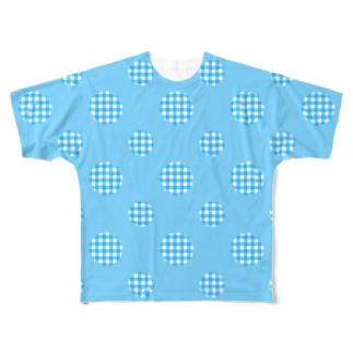 Polka Dots(Blue Gingham) フルグラフィックTシャツ