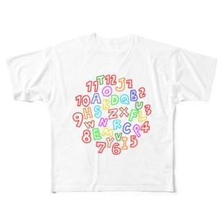 カラフルな数字とアルファベット Full graphic T-shirts