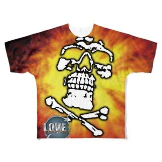 LMTガイコツメッシュTシャツ(片面) Full graphic T-shirts