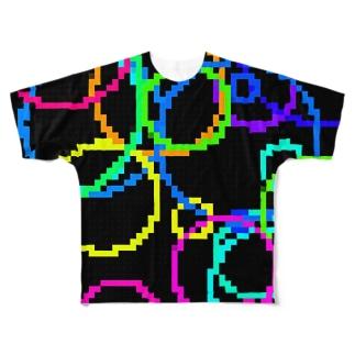 Retro Game Pattern(Random Circles) フルグラフィックTシャツ