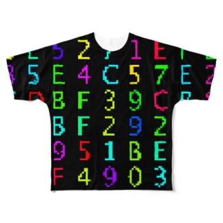 Retro Game Pattern(Hex) フルグラフィックTシャツ
