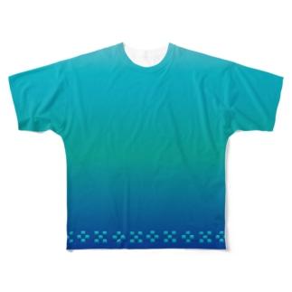 空と海の青 ミンサー [Hello!Okinawa] Full graphic T-shirts